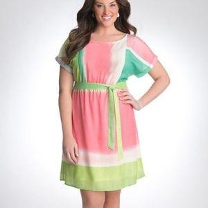 Lane Bryant Color Block semi sheer midi dress